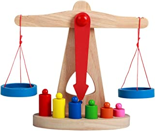 TOYANDONA 1 Set Balance Scale Toys Counting Cool Math Games Wooden Scale Math Teaching Tool Fun Early Educational Toy for ...
