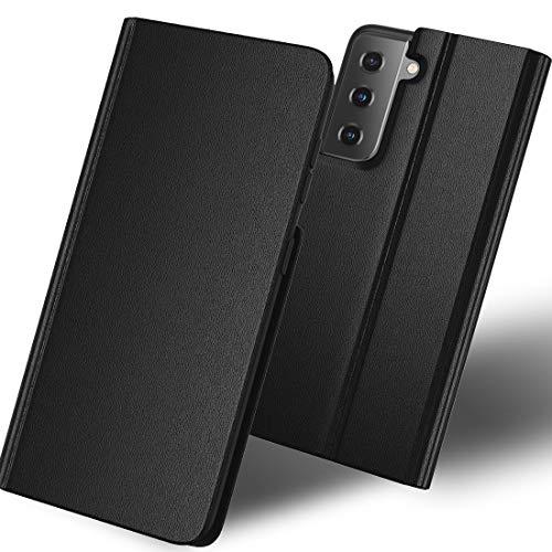 SHINEZONE Funda para Samsung Galaxy S21 Plus, funda de piel con tapa y ranuras para tarjetas, función atril, cierre magnético, color negro