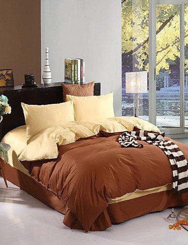 LIANGTT Vier Sätze Bettwäsche,zweifarbige Bettlaken Kissenbezüge Bettbezug (Kanarische + Kaffee)