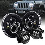 4' Fog Light + 7' Round CREE LED Headlights Replacement for Jeep Wrangler [4500 Lumens] [H4 Plug n Play] [Built-In CAN Bus] - Fog/Head Lights Compatible with Jeep Wrangler Accessories 1987-2018