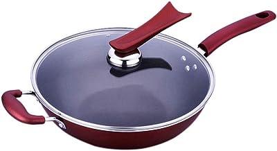 JBJWM Wok Nonstick Die-casting Aluminum Dishwasher Safe Scratch Resistant Free Induction Woks And Stir Fry Pans With Glass...