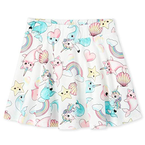 The Children's Place Girls' Printed Skorts, Simplywht, L (10/12)
