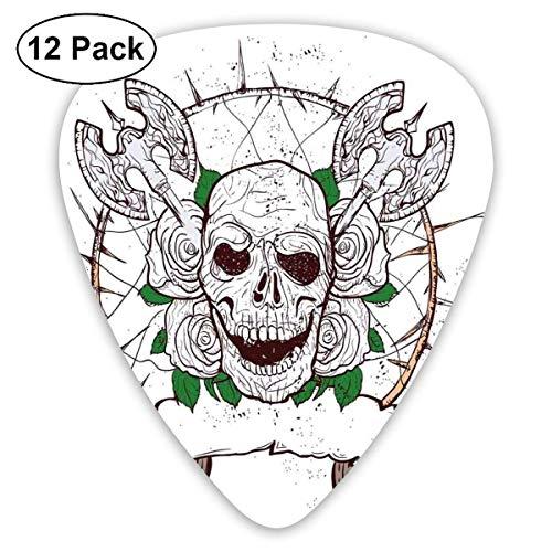 Guitar Picks Schädelfigur mit Nase und Äxten Grunge-Stil Desgin Black Christmas Icon Gruseliges Design, für Bass-E-Gitarren-12er-Pack