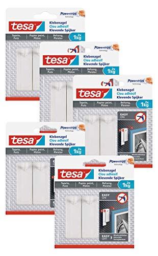 tesa Klebenagel für Tapeten und Putz/Selbstklebende Nägel für empfindliche Oberflächen (1 kg 10 Nägel)