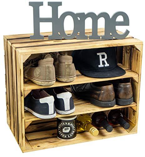 Kistenkolli Altes Land Schuhschrank Schuhregal Weinregal Schuhablage für 6 Paar Schuhe als Schuhständer Schuhaufbewahrung aus Holz stabiles Regal in Obstkisten Optik (geflammt doppelt Längs flam)