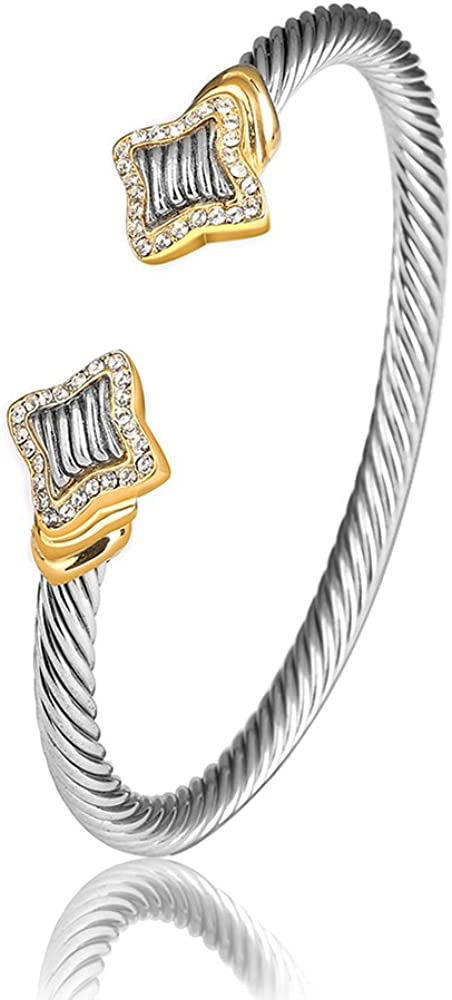 UNY Jewelry European and American Fashion Antique Cables Rhodium 2 Tone Plated Bracelet Unique Vintage