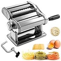 macchina per pasta manuale con manovella sfogliatrice, macchina per la pasta acciaio inossidabile 430 7 gradi di regolazione per tagliatelle/spaghetti/lasagna/ravioli (argento)