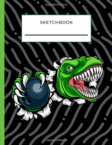 Sketchbook: Angry Dinosaur with Bowling Ball on Black Cover / Unruled Unlined Paper / 8.5x11 Inches, Notebook Size / Design Book / Great Gift for Creatives, Artists and People Who Love To Draw