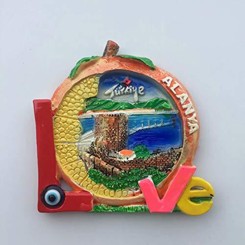 Alanya Turquía Imán de Nevera 3D Resina de la Ciudad de Viaje Recuerdo Colección de Regalo Fuerte Etiqueta Engomada refrigerador