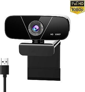 Aovaza Cámara Web Full HD 1080P con Micrófono, Computadora Portátil PC de Escritorio USB 2.0 Webcam para videollamadas, Estudios, conferencias, grabación, Juegos con Clip Giratorio