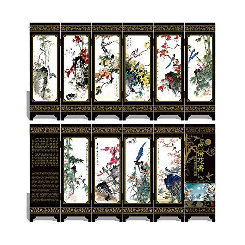 UUMFP 6 Panel Raumteiler und Paravents Double Sided Folding Desktop-Dekoration Ornamente Lack Mini Kunstgewerbe Geschenke