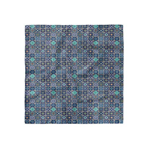 "Lunarable Mosaic Head Scarf, Portuguese Azulejo Culture, Hair Wrap, 27"" X 27"""