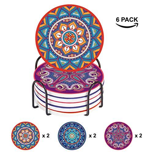Elabo Getränkeuntersetzer – feuchtigkeitsabsorbierende Steinuntersetzer mit Korkboden – inklusive Halter – Steinuntersetzer Sets geeignet für Tassen und Tassen, 6er-Set