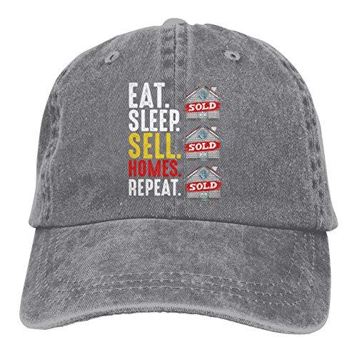 Agente de Bienes raíces - Eat Sleep Sell Homes Repeat Hat, Gorra de béisbol con Bordado de algodón Ajustable, Gorra de Camionero para papá, Gorra de Golf