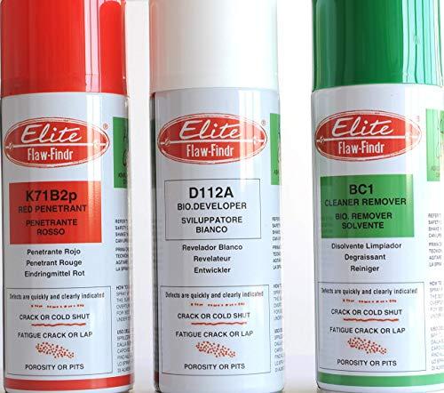 LIQUIDO PENETRANTE, PULITORE, RILEVATORE per CRICCHE e altri DIFETTI su SALDATURE e su Tutti i Materiali - Bombole Spray 400 ml - Il Kit per Iniziare COMPLETO