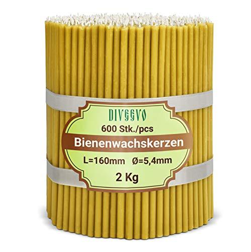 Diveevo Ritualkerzen - Candele di cera d'api: ambra 600 pezzi, lunghezza: 16 cm, diametro: 5,4 mm, durata: 35 min; naturali, antigoccia, senza fumo, qualità chiesa sottile, in cera d'api Nr. 120