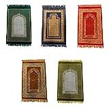 110 x 65cm Muslimische Gebetsteppich für Unterwegs Orientalischer Seccade Sejjada Namazlik Namaz Islam Orientteppich mit Mihrab Motiv