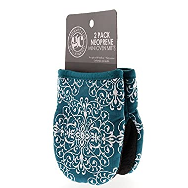 Gourmet Club Mini Oven Mitts w/Neoprene for Easy Gripping, Heat Resistant up to 500 degrees F, Lace Biscay Bay - 2pk