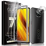 TAURI 6 Pack Xiaomi Poco X3 NFC/Poco X3 Pro Protector de Pantalla,3 Pack Cristal Vidrio Templado y 3 Pack Protector de Lente de cámara, Doble Protección,Marco de Posicionamiento