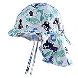 MeekEra Sombrero de Algodón de Verano para Bebés con Barbijo Ajustable Anti-UV Gorro de Niño con Chal Protección Solar para Niña Infantil Bebé Niña- Blanco - 2-3 Años