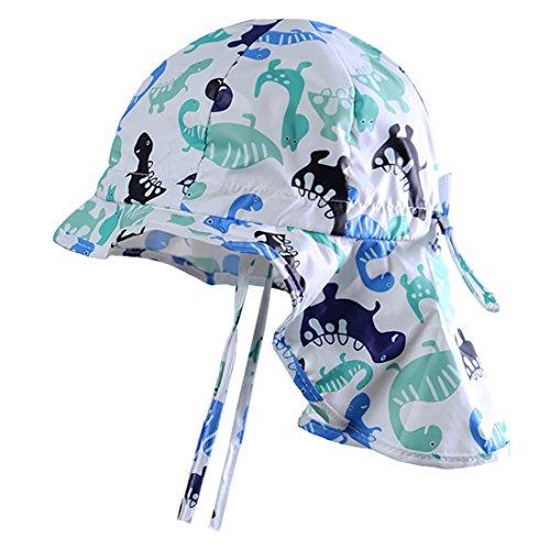 MeekEra Sombrero de Algodón de Verano para Bebés con Barbijo Ajustable Anti-UV Gorro de Niño con Chal Protección Solar para Niña Infantil Bebé Niña- Blanco - 2-3 Años 🔥