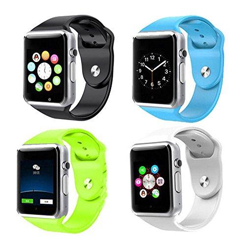 Theoutlettablet® GT08 Smartwatch Bluetooth voor telefoon met simkaart en sleuf voor microSD-kaart, Celeste Y Blanco