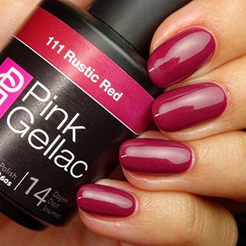 Pink Gellac 111 Rustic Red color rojo esmalte Gel Permanente 14 días