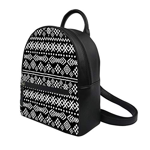 N-B Women Backpacks Bohemian Style Printing Small School Bags For Girls Black PU Leather Female Bagpack