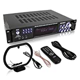 4-Channel Home Audio Power Amplifier - w/ 70V Output - 1000 Watt Rack Mount Stereo Receiver w/ AM FM Tuner, Headphone, Microphone Input for Karaoke, Great for Commercial Entertainment Use - Pyle PT720A BLACK