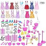 114PCS Puppenkleidung zubehör Set Für Barbie Puppen, 16 Pack Kleider + Schuhe + Kleiderbügel + Puppe Stand Halter + Accessoires, Geburtstag Party Weihnachten Geschenke für Mädchen Kinder -