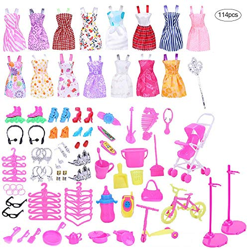 rosemaryrose Ropa Barbie Barbie Ropa Vestidos Barbie Accesorios Barbie Barbie Accesorios 114PCS / Set Doll Clothes Set Doll Dress Accesorios Juguetes Niños -Fingir Juguete