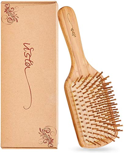 Brosse Cheveux en Bamboo Brosse Brushing Professionnel pour les Cheveux Longs et épais Ondulés, Réduisant la Casse et les Frisottis, Plus d'Enchevêtrement, Peigne Massage, avec un Sac en Tissu Exquis