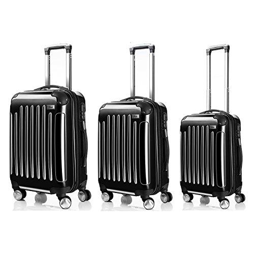LDUDU  Valise rigide à 4 doubles roues,Bagages avec 4 doubles roues 360°,Noir,XL