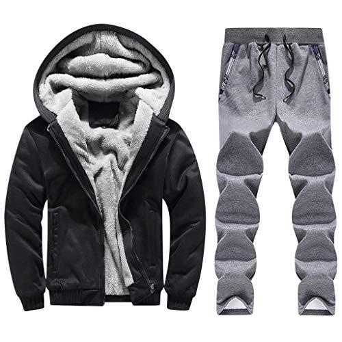 Toimothcn Mens Faux Fur Lined Coat Winter Warm Fleece Hood Zipper Sweatshirt Jacket Outwear (Black,XXL)