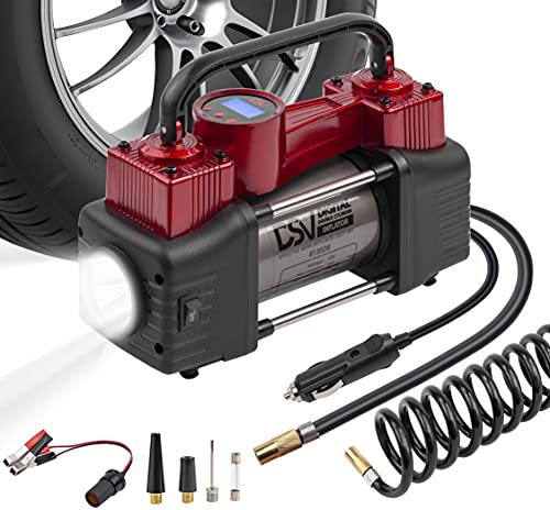 DSV Standard Portable Heavy Duty Double Cylinders Car Air Compressor...
