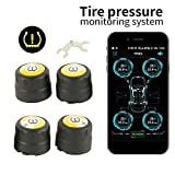Bluetooth 4.0 External Tire Pressure Monitoring System TPMS Real-time Displays 4 Tires' Pressure and Temperature for iOS or Android Phone with 4 External Sensors