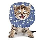 BVAGSS Haustier Halsband Einstellbarer schützender Rutschfester Baumwollring Protective E-Collar für Katze und Hund XH004 (M, Grey Fish)