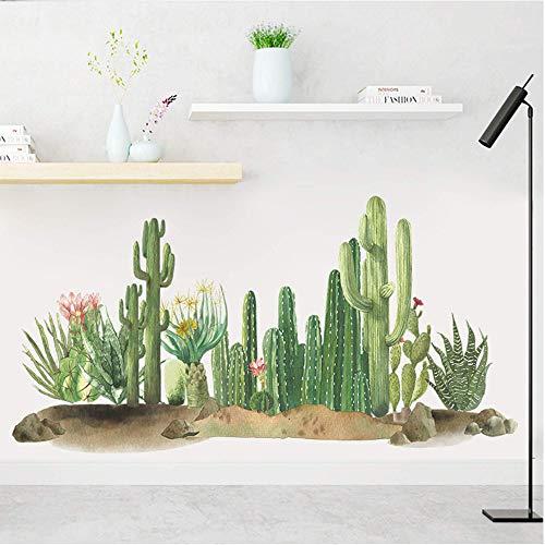 Cactus tropical Naturaleza Plantas verdes Flores Pegatinas de pared de vinilo Calcomanías de pared de PVC extraíbles Decoraciones de imágenes artísticas Decoración para adolescentes Niños Niñas Dormi