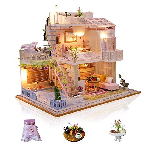 Cuteefun Casa in Miniatura da Costruire Adulto Fai da Te in Legno Mini Villa Fatta a Mano con Musica e Antipolvere per la Decorazione, Regali Creativi Artigianali per Donne (Meet Love)