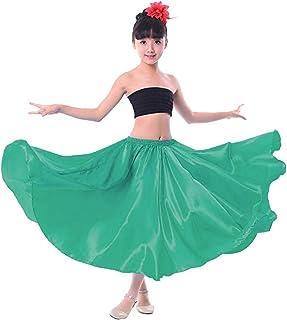 268b0628f Backgarden Girl Children Color Stretched Waist Performance Circle Skirt  Belly Dance Dress