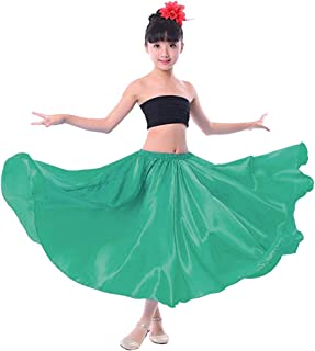 Backgarden Girl Children Color Stretched Waist Performance Circle Skirt Belly Dance Dress