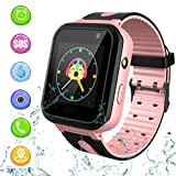 Kids Waterproof Smart Watch, Touch Screen Smartwatch with AGPS/LBS Tracker Voice Chat SOS Anti-Lost Calling Phone Watches for 3-12 Year Old Boys Girls Birthday Gift. Compatible with iOS Android.…