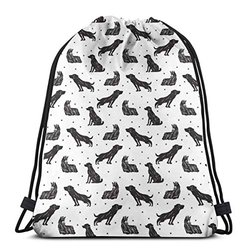 YUDILINSA Mochila con Cordón Mochila Bolsa Bolsa de Gimnasio,Diversos Tipos de Animales de compañía en Siluetas de Labrador Terrier Dibujados a Mano,Bolsa de Kit de Saco de Gimnasia Bolsa