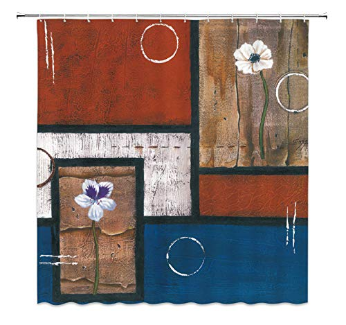 lxlwxh541 Blaue Muster abstrakte Moderne Malerei in Mondrian Buntem Bauhaus wasserdichtem Polyester Stoff Duschvorhang(W) 180x(H) 1200cm
