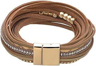 ZOBDX Women Leather Bracelet Rope Hand Woven Wrap Bracelet with Magnetic Buckle Cuff Bangle Jewelry Women Girl Gift