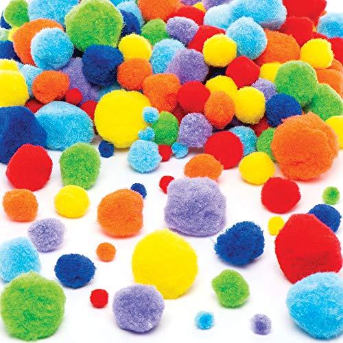 Baker Ross- Pack ahorro de pompones multicolor (Pack de 200) Pack ahorro de colores brillantes -Perfecto para Proyectos de manualidades infantiles, creación de álbumes de recortes, personalización