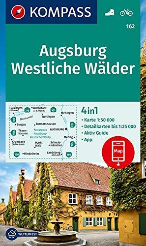 KOMPASS Wanderkarte Augsburg, Westliche Wälder: 4in1 Wanderkarte 1:50000 mit Aktiv Guide und Detailkarten inklusive Karte zur offline Verwendung in ... (KOMPASS-Wanderkarten, Band 162)