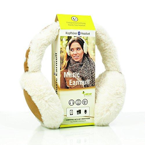 Sharon LEICKE Music Bluetooth Ohrenschützer | TÜV schadstoffgeprüft | Funkkopfhörer Stereo-Lautsprecher-Mikrofon Wireless Earmuff | Smartphone kompatibel | Cremeweiß - Cognacbraun