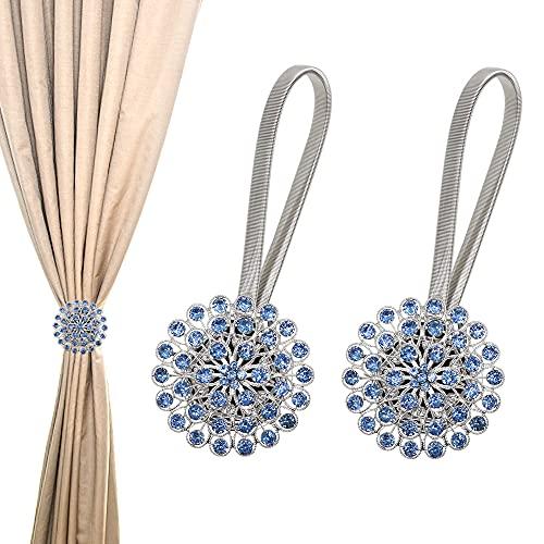 KSTEU - Un par de Hebillas de Amarre para Cortinas, Clips de Cortina magnéticos con Cabezas de Diamantes Azul Retenes de Cortina con extensión de Resorte Flexible(Azul)