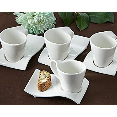 Artisano Designs  Swish  Cup and Biscotti Plates, Set of 4